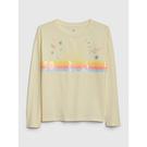 Gap女童可撥動亮片圓領套頭T恤520398-金銀花淺黃