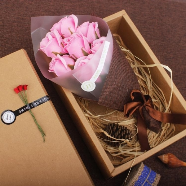 花束禮盒 畢業禮物送女生老師紀念品手工文藝教師節生日香皂花禮盒玫瑰花束 亞斯藍