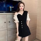 連身褲 2020夏季新款氣質西裝領網紗拼接紐扣收腰連身褲韓版黑色連身褲女 韓國時尚週