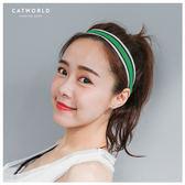 Catworld 學院風雙色運動髮帶【18002960】‧F*特價