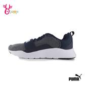 PUMA 中童 WIRED KNIT PS 綁帶輕量運動鞋 慢跑鞋 J9581#藍色◆OSOME奧森鞋業