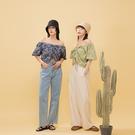 Queen Shop【01097023】前抽繩設計變形蟲印花短版上衣 兩色售*現+預*