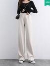 白色燈芯絨寬管褲女秋冬季高腰寬鬆2020新款垂感直筒休閒條絨褲子