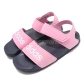 adidas 涼鞋 Adilette Sandal K 粉紅 白 魔鬼氈 涼拖鞋 基本款 女鞋 大童鞋 中童鞋【PUMP306】 G26876