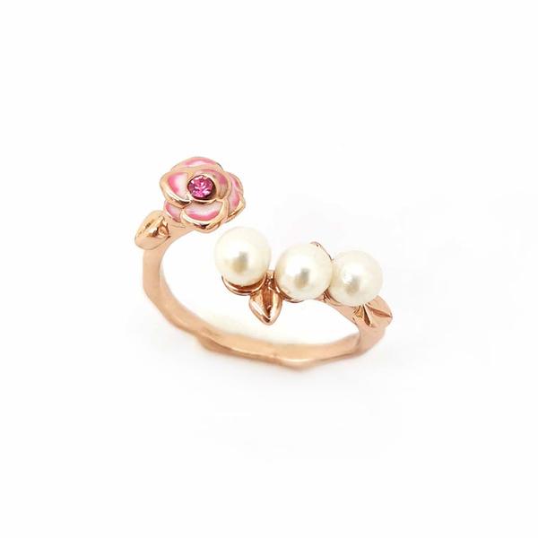 【正韓】P.Y 粉色玫瑰珍珠戒指 16K玫瑰金