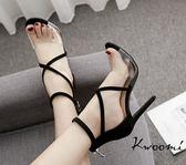 高跟涼鞋 絨質交叉帶果凍一字細跟 高跟鞋 晚宴鞋*Kwoomi-A91