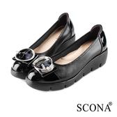 SCONA 蘇格南 全真皮 輕盈舒適鑽扣楔型鞋 黑色 31034-1