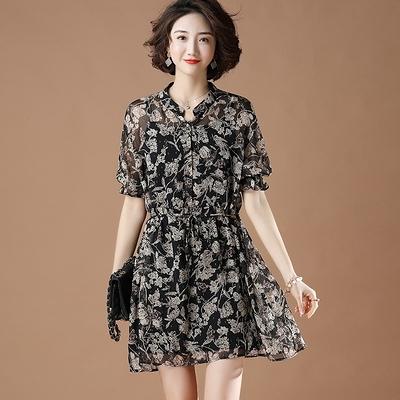 吊帶裙兩件式洋裝L-5XL夏季燙金碎花雪紡兩件套襯衫裙 純棉吊帶連身裙女NB11-G.胖丫