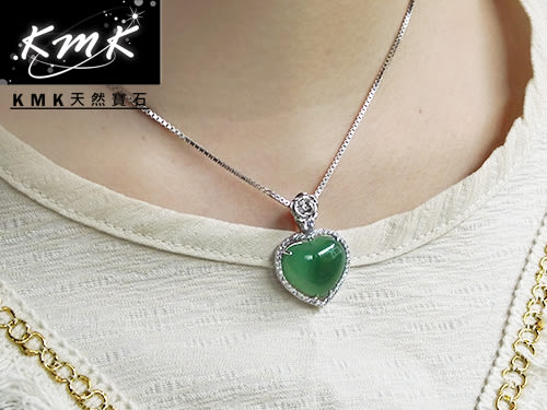 【KMK天然寶石】玫瑰情人(南非辛巴威天然綠玉髓-項鍊)