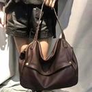真皮側背包-純色大容量牛皮多用途女手提包2色74af3[巴黎精品]