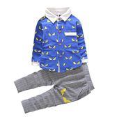 韓版長袖襯衫純棉衣服新款1-2-3-4-5歲男女寶寶嬰幼兒童套裝6個月