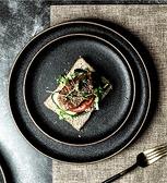 西餐盤 牛排盤家用創意黑色磨砂盤牛扒盤商用網紅菜盤圓平盤日式西餐盤子【快速出貨八折搶購】