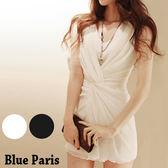 藍色巴黎 ★  OL洋裝 氣質涼感無袖捲摺修身連衣裙 洋裝 【29049】《2色》