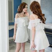 VK旗艦店 韓國名媛風氣質性感小禮服一字領短袖洋裝