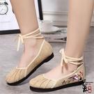 女鞋交叉綁帶民族風繡花鞋舒適千層布底布鞋復古鞋