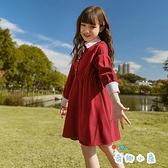 女童連身裙兒童裙子春裝紅色大童衣服【奇趣小屋】