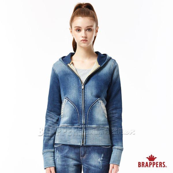 BRAPPERS 女款針織牛仔長袖連帽外套-藍