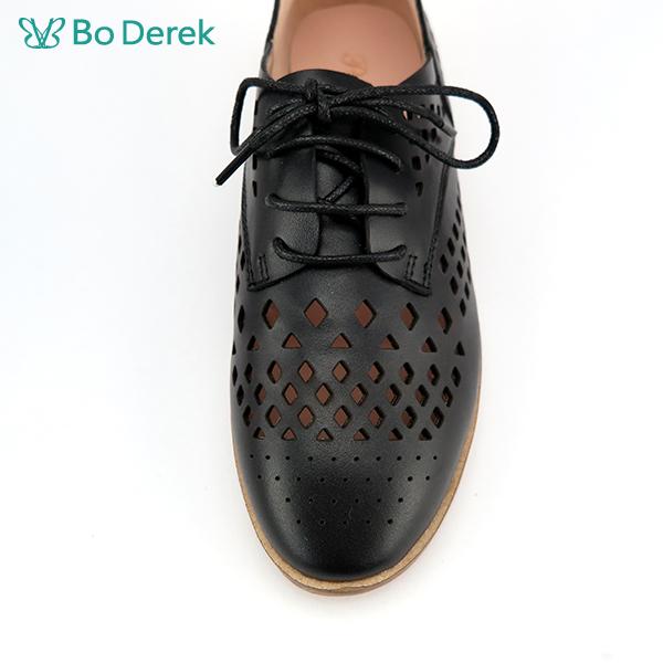 【Bo Derek 】菱格鏤空牛津鞋-黑