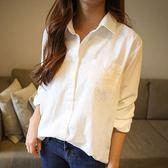 白色襯衫女冬新款棉麻寬鬆襯衣短袖港風ins超火的bf防曬上衣   芊惠衣屋