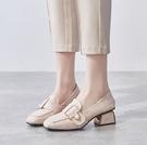 英倫高跟鞋秋款小皮鞋中跟單鞋2020秋季新款秋鞋粗跟鞋子百搭女鞋 依凡卡時尚