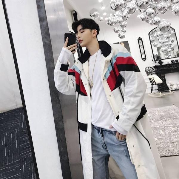 FINDSENSE G6 韓國時尚 男士風衣中長款秋冬外套寬鬆潮流大衣披風