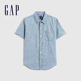 Gap男童 輕薄牛仔純棉短袖襯衫 697213-水洗藍