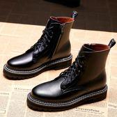 馬丁靴女鞋新款秋款冬款百搭帥氣八孔英倫風機車短靴   韓流時裳