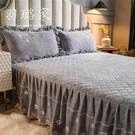 牛奶絨床裙單件裙式夾棉床罩床套四件套加厚珊瑚絨法萊水晶絨床單 雙十二購物節