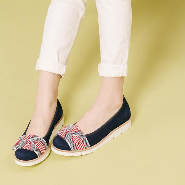 德國 GABOR 運動系列 絨面緞帶芭蕾平底鞋 深藍 44.141.10 女鞋
