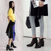 丁果、大尺碼女鞋34-46►韓版明星款細扣帶環尖頭高跟短靴*3色