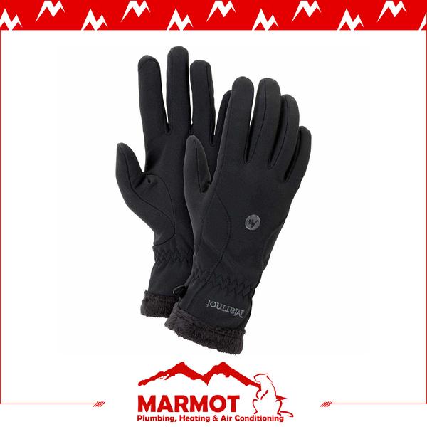 【MARMOT 女 Fuzzy Wuzzy 防風手套《黑》】18410/刷毛手套/機車手套/保暖/寒流/賞雪
