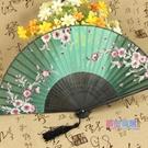 扇子 古典中國風女式夏季小巧真絲櫻花古風便攜折疊扇隨身日式折扇【快速出貨】