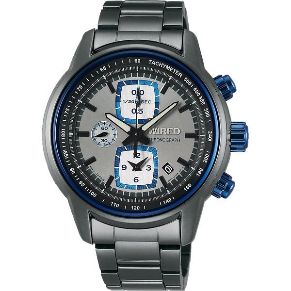 WIRED Reflection 時空跳躍計時碼錶-藍圈x灰/43mm 7T92-X271N(AF8U19X1)