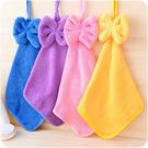 蝴蝶結 絨毛 擦手巾 珊瑚絨 掛式 吸水 抹布 廚房 浴室 馬卡龍 掛巾【RS662】