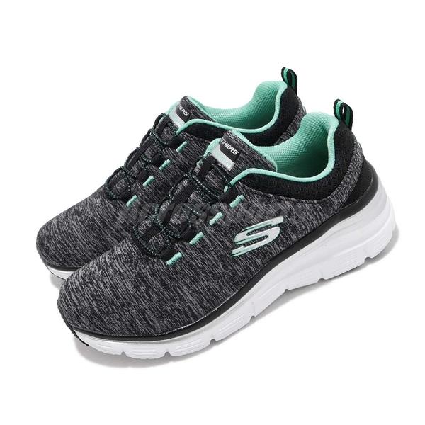 Skechers 慢跑鞋 Fashion Fit-Up A Level 黑 綠 微增高設計 女鞋 運動鞋 健走鞋【PUMP306】 12716BKTQ