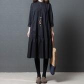 初心 文藝洋裝【D2789】 純色 藏青 文藝 長袖 寬鬆 洋裝 襯衫洋裝