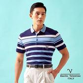 【Emilio Valentino】絲光棉條紋定位POLO衫 - 藍