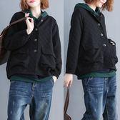秋季新款正韓寬鬆黑色加大尺碼女裝胖mm壓花立領暗格大口袋長袖外套