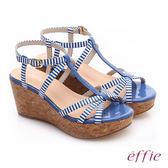 effie 摩登美型 鏡面真皮海軍風繞踝楔型涼鞋  藍