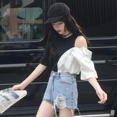春裝韓版chic撞色襯衫個性漏肩口袋T恤學生百搭短袖上衣女裝     韓小姐