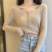 春季女裝新款單排扣長袖毛衣打底衫韓版純色顯瘦內搭針織衫上衣潮 星河光年