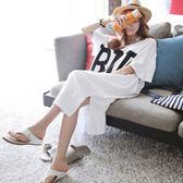 現貨夏季韓版純棉開叉字母休閒短袖T恤裙過膝大碼寬鬆長款白色長裙女 大尺碼連身裙