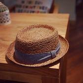 草帽-手工編織平頂帽夏季出遊時尚有型女遮陽帽2色73si16[巴黎精品]