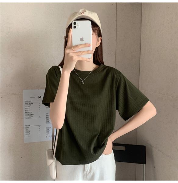 EASON SHOP(GQ2082)實拍純色針織坑條紋短版彈力合身修身圓領短袖針織衫T恤女上衣合身貼肩顯瘦內搭衫