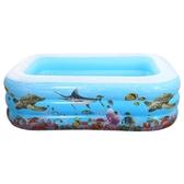 夏季嬰兒寶寶家用游泳池小孩戶外家庭折疊大號充氣加厚兒童游泳池 深藏blue