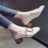 女鞋百搭韓版英倫風方頭粗跟小皮鞋
