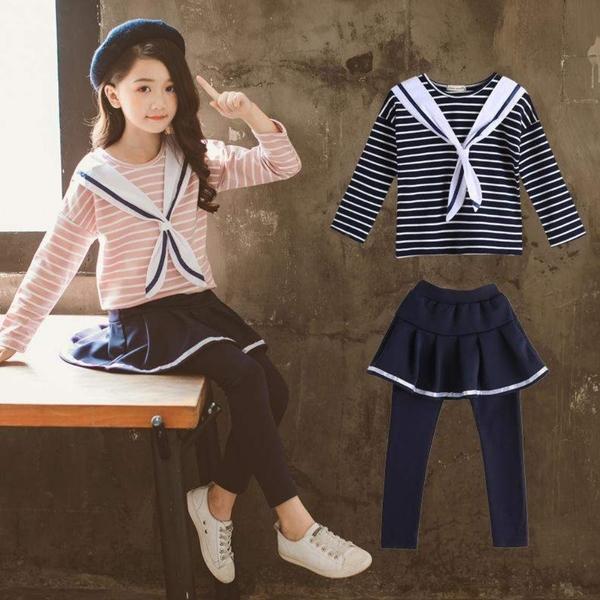*╮小衣衫S13╭*中大童海軍風長袖上衣短裙長褲套裝1080926
