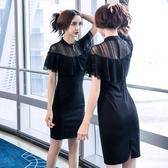 雪紡洋裝2020夏季新款氣質女神范蕾絲短袖包臀裙性感緊身顯瘦雪紡連身裙女 suger
