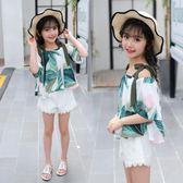 女童套裝 韓版夏季新款中大童雪紡短袖兩件套女孩洋氣潮LJ8528『黑色妹妹』