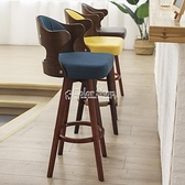 吧臺椅實木現代簡約家用靠背旋轉酒吧椅吧凳奶茶咖啡廳前臺高腳凳 快速出貨 YYP